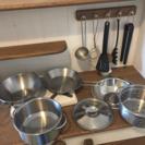 おままごと用 お鍋、フライパン、お玉、トングなど10点セット