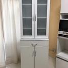 鏡面 食器棚 白 ホワイト キッチン キャビネット