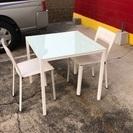 ●ダイニング3点セット ガラステーブル・チェア 食卓テーブル キッチン