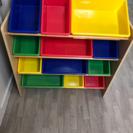 美品 玩具箱 棚 木製 プラッチック