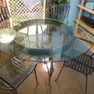 J044 ガラス丸型ダイニングテーブルとイス4脚セット