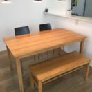 無印良品 ダイニングテーブルとベンチのセット タモ材