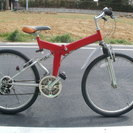 美品 折り畳み式 26インチ シマノ16段変速付き マウンテンバイク