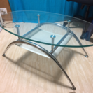 強化ガラストップ☆オーバルローテーブル