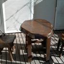 おもしろ家具ー賢者の椅子2脚と寄木のテーブルセット