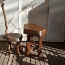 おもしろ家具ー孤独な賢者の椅子1脚と寄木のテーブルセット