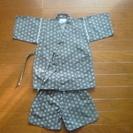 子ども甚平【120cm】 花火大会、夏祭り、黒、隈取、変わり織り、...