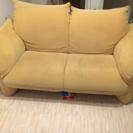 2人掛けソファ、カウチ、黄色、布製