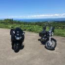 バイクで!
