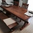 【15000円に値下げ】ダイニングテーブル、椅子3脚、長椅子1脚