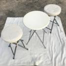 丸テーブルと椅子2脚のセット