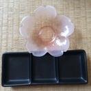桜のお皿、黒食器 未使用品