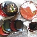 丸盆と茶托揃え、菓子置き5点セットをお安くお譲り致します。