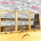 男前(濃い色)☆ガラス 3つ扉 カフェ風ショーケース