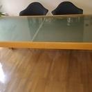 IDC大塚家具オリジナル デザイン木製テーブル 天板マットガラス ...