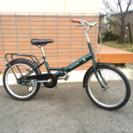 ダークグリーンのシックな折り畳み自転車