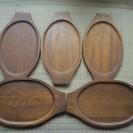 グラタン皿の木製受け皿 5枚セット 中古