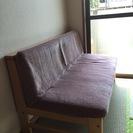 2人掛け木材+布製ソファ、売ります。