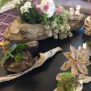 お花や草×流木の生きたアート作品をオーダーで格安で作ります。