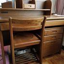 商談中!   浜本工芸   天然 無垢材 素材  学習机と椅子×2セット