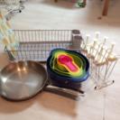 食器乾燥/ステンレス製フライパンなどキッチン用具まとめ売り