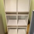 《美品》図書館風本棚 ディスプレイ棚付き  白