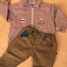 Moujonjon 赤チェックのジャケット 茶ズボン付き