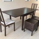 IKEA伸長式ダイニングテーブル&イス&スツール 5点セット