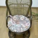 レトロ アンティーク 籐製 回転座椅子 ハイタイプ 籐の椅子 肘付...