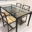 ガラステーブル&麻素材チェア