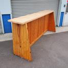 大工さん作成の木製カウンターテーブル 天板ヒノキ使用 幅290cm