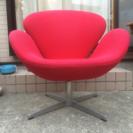パーソナルチェア 赤い布 スワンチェア
