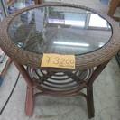 籐のガラス付き まるテーブル 直径54㎝