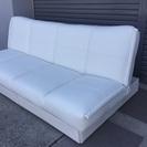 <新品同様>ベルメゾン*ベッド下・収納付き合皮ソファベッド・ホワイト