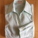 淡い若草色の長袖シャツブラウス(Mサイズ)