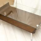 値下げ、カジュアルガラステーブル NET-301 BR ブラウン