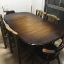 伸縮可能テーブル+椅子6脚