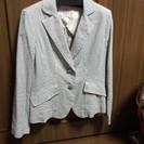 ストライプ・サッカー生地 夏用ジャケット(40サイズ、女性用、肩部...