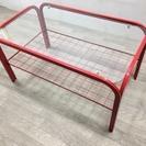 042101 ガラステーブル 赤♪
