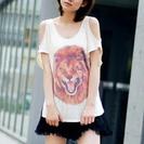 COCODEAL ライオン柄☆肩出しTシャツ サイズ:2