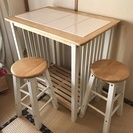 ビーカンパニー カウンターテーブル 椅子二脚付き
