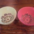 レトロ 花柄 ガラスボール 2色セット