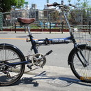 ♪ジモティー特価♪20インチ折りたたみ中古自転車 前かご・Rサスペ...