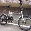 20インチ 折りたたみ自転車 白 6段変速、前カゴ付き 鹿児島市