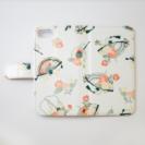 iphone7(s)用手帳型カバー 扇子ピンク花柄