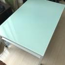 ガラステーブル(水色&白)美品