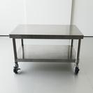 ステンレス製ローテーブル/キャスター&棚付き/W750