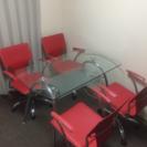 ガラステーブル、椅子4脚セット