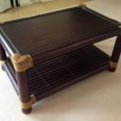 アジアン家具・バリ製/バンブー棚付きローテーブル70×45 竹製/...