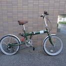 折りたたみ自転車20インチ シマノ製6段変速 リアサスペンション付...